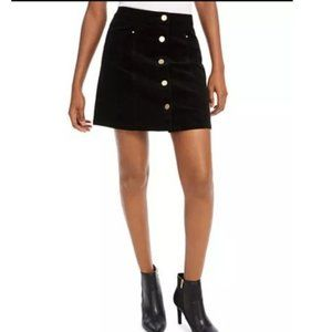 Maison Jules Black Corduroy Gold Button Mini Skirt